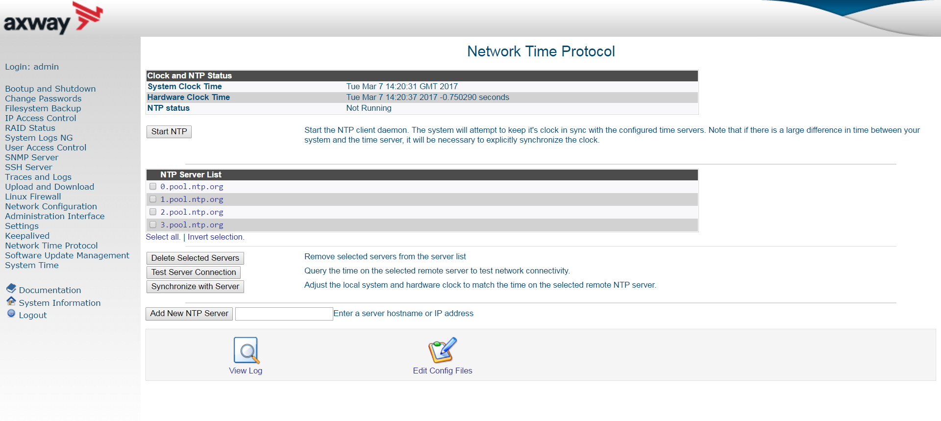 Manage NTP