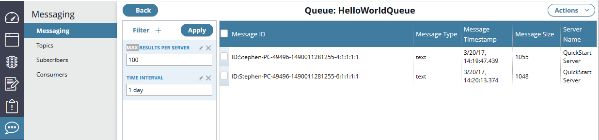 Manage embedded ActiveMQ messaging