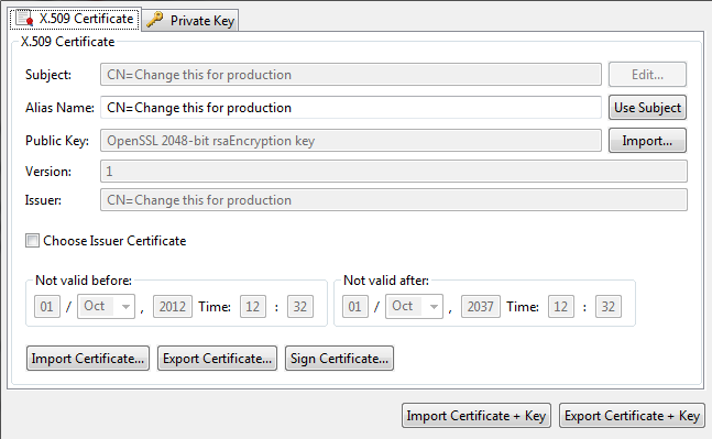 Manage X.509 certificates and keys