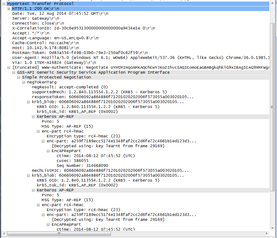 Use Wireshark to trace authentication between the client and