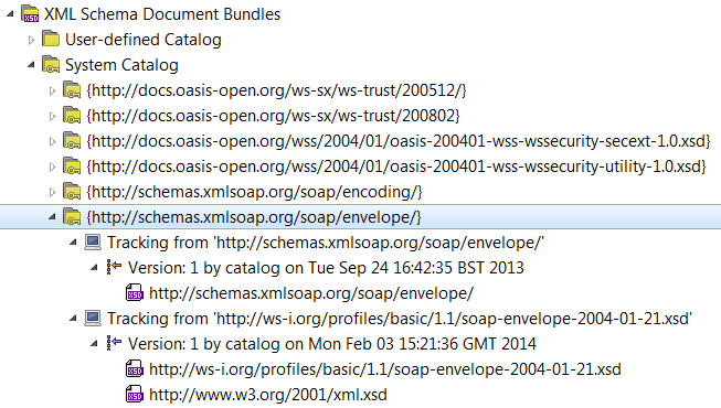 Manage WSDL and XML schema documents