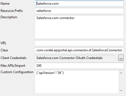 Configure a connector for Salesforce APIs