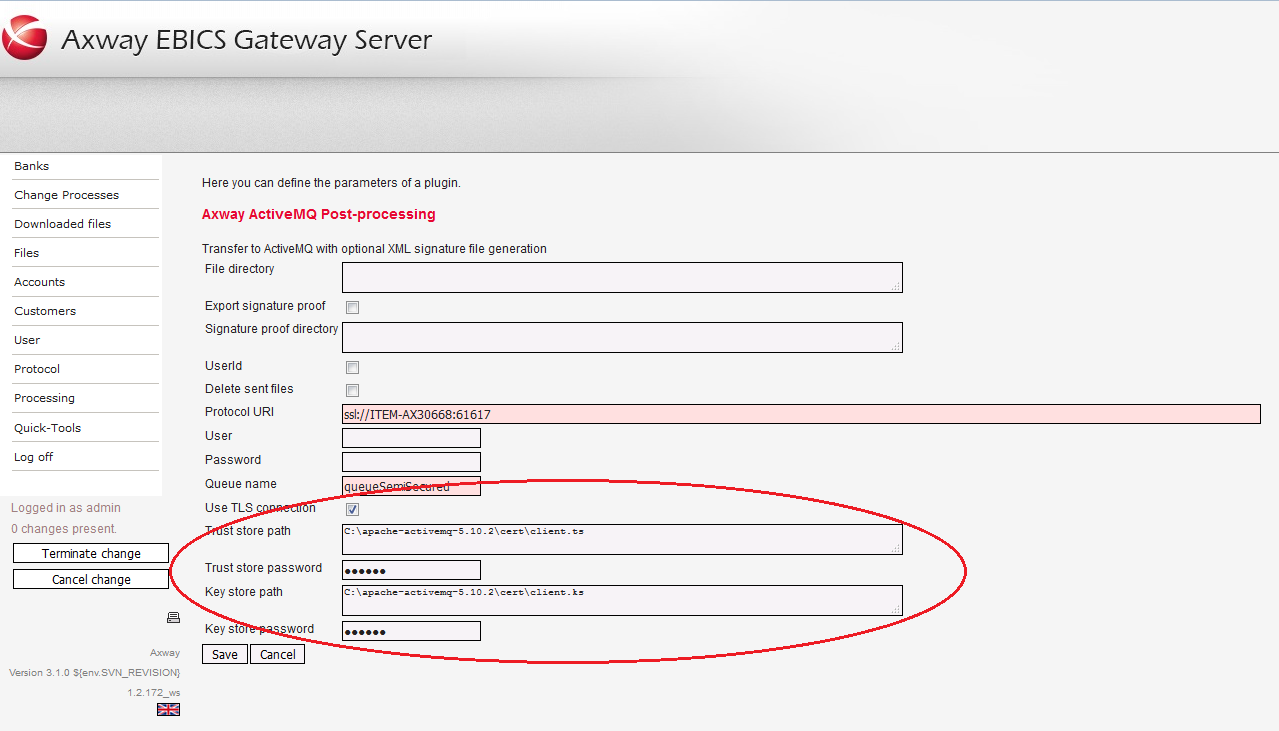 EBICS Gateway: Use TLS connection for post-processing with a JMS
