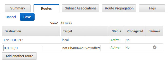 NAT Gateway and private subnets routing
