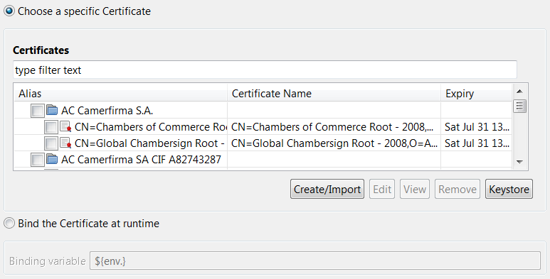 Certificate selection dialog