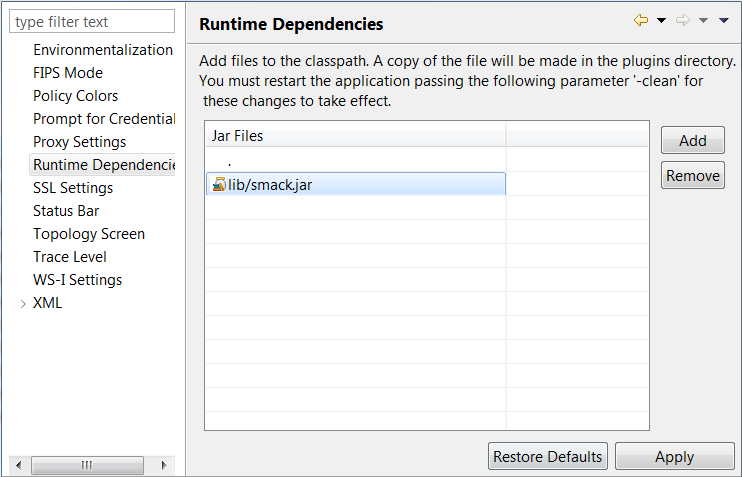 Policy Studio runtime dependencies