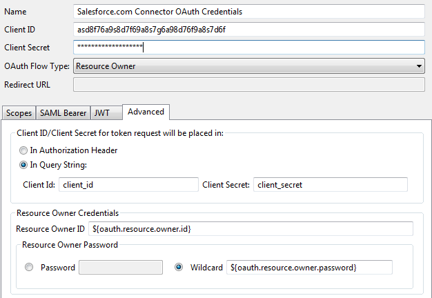 OAuth credentials for Salesforce.com