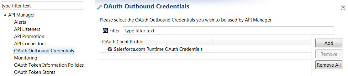 OAuth Outbound Credentials setting