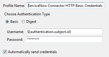 HTTP basic credentials for ServiceNow