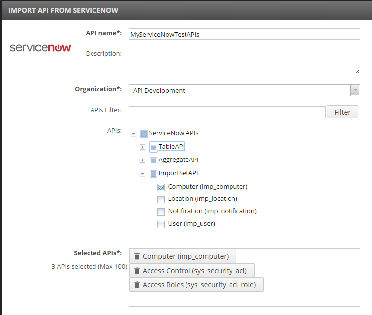 Import API from ServiceNow