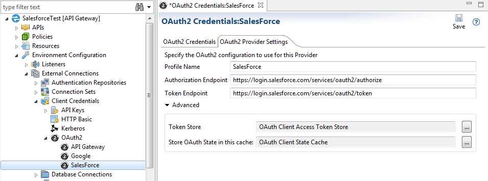 OAuth provider settings for Salesforce.com