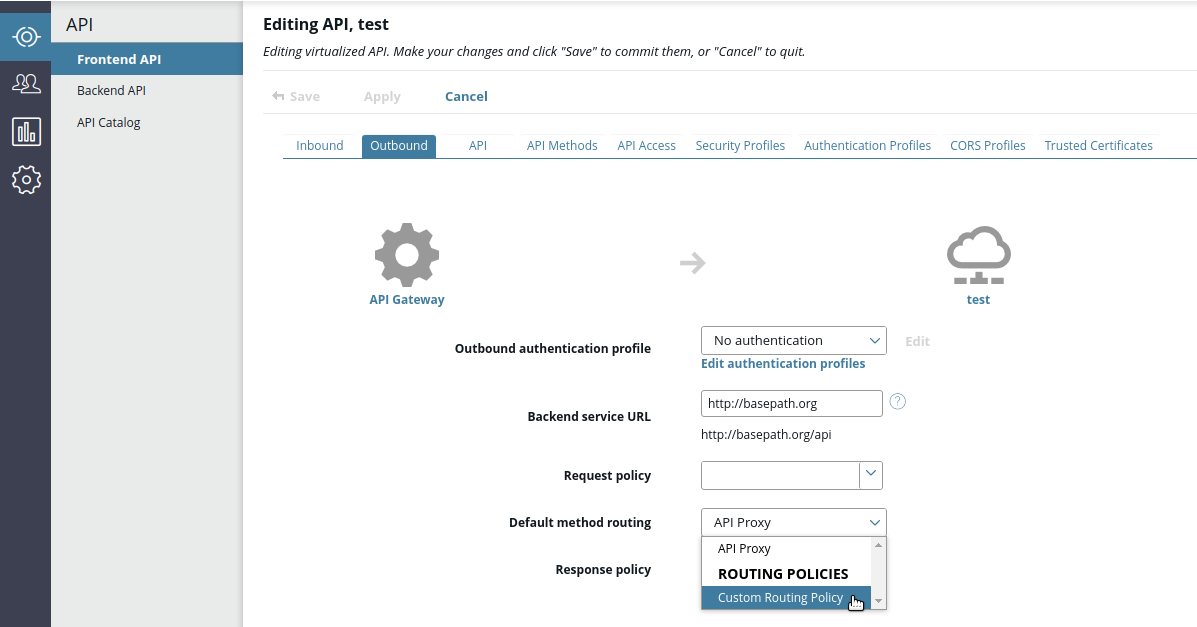 Configure custom routing policy in API Manager
