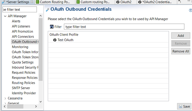 Configure API Manager OAuth Outbound Credentials in Policy Studio