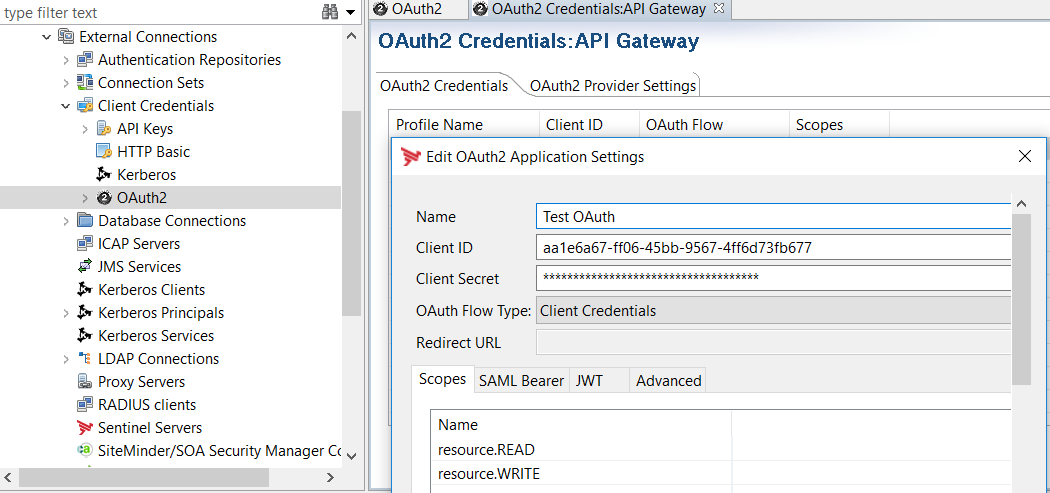 Configure OAuth2 Application Settings in Policy Studio