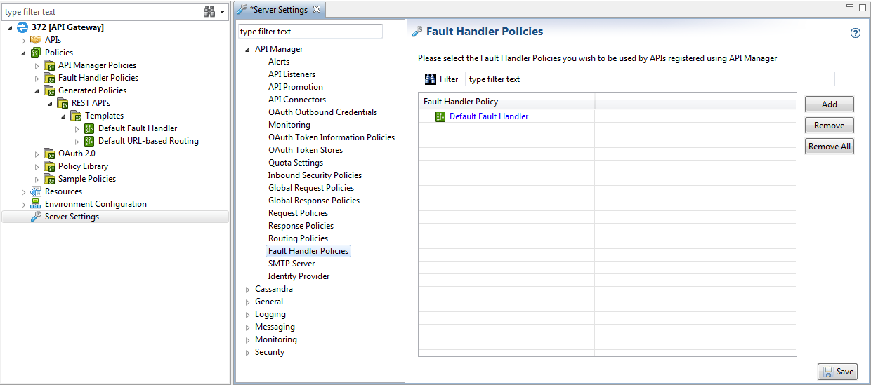 Configure API Manager Fault Handler Policies in Policy Studio