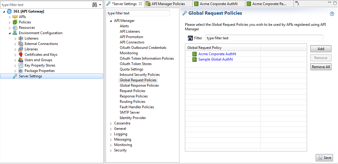 Configure API Manager Global Request Policies in Policy Studio