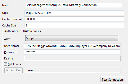Sample Active Directory connection