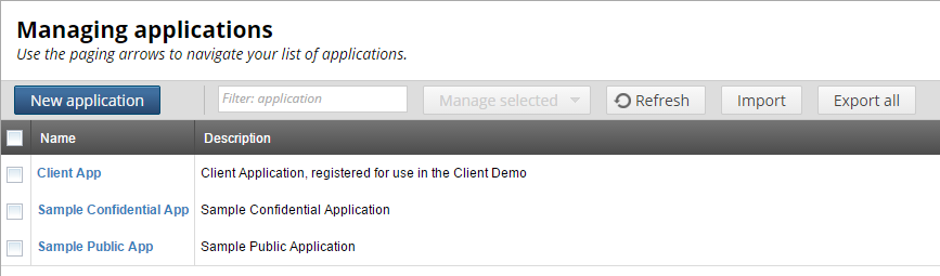 Client Application Registry HTML interface