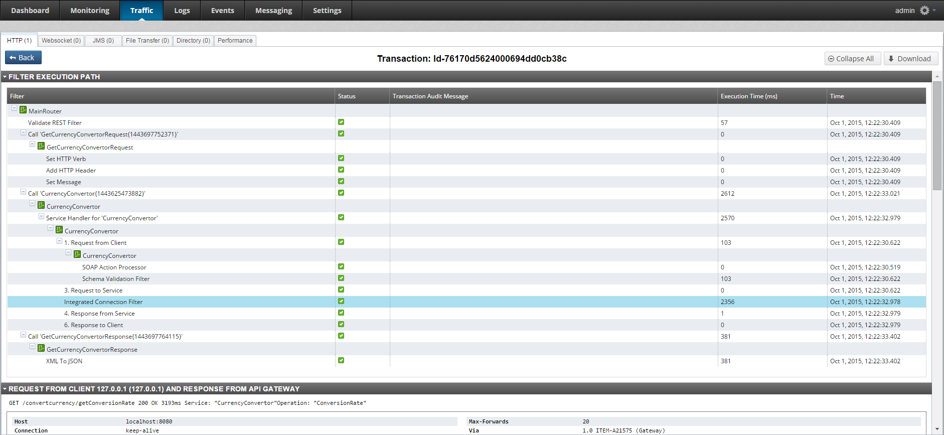 Execution path in API Gateway Manager